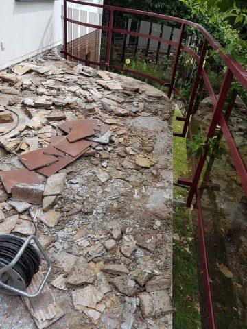 Entfernen der alten Balkonfliesen vor Sanierung